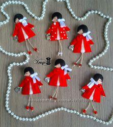 Маленькие фетровые брошки-куколки handmade