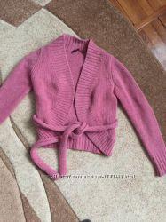 Вязаное дизайнерское болеро с пояском кардиган накидка