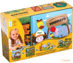 Зоопарк первая книга знаний в коробке фигурки дерево картон пазлы в подарок
