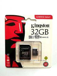 Карта памяти Kingston микро SDHC UHS-1 32 гб класс 10 с адаптером новые
