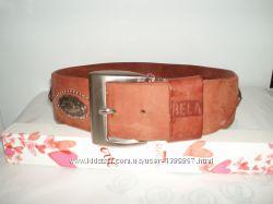 Фактурный кожаный ремень с художественной чеканкой, 84 см или обмен