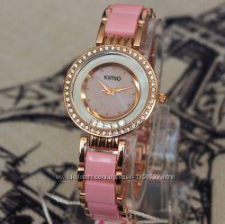 Женские часы kimio со стразами и керамическим ремешком