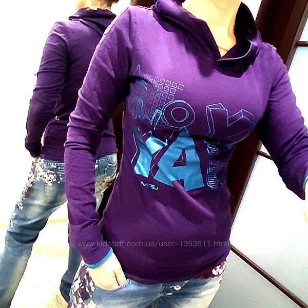 Свитшот с капюшоном фиолетовый принт худи свитер реглан Гермния XS S