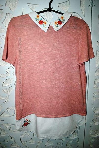 Футболка M-L рубашка с вышивкой нарядная нежная роскошная стильная