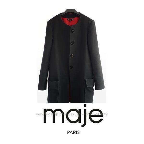Черное пальто Maje оригинал пальто шерсть хлопок женское пальто из шерст