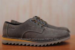 Серые кожаные мужские туфли Clarks, кларкс. 44 размер. Оригинал