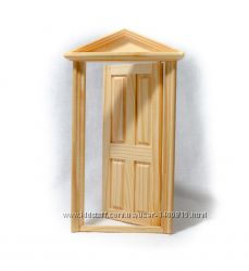 Дверь входная с рамой из дерева для домика в миниатюре