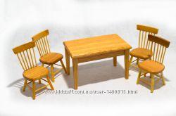 Набор стол  4 стула кухонные из натурального дерева для домика в миниатюре