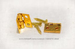 Пара дверных петель с гвоздями золото для домика