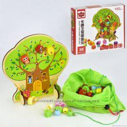 Деревянная шнуровка Дерево с фруктами и бусинами 102 детали реальные фото