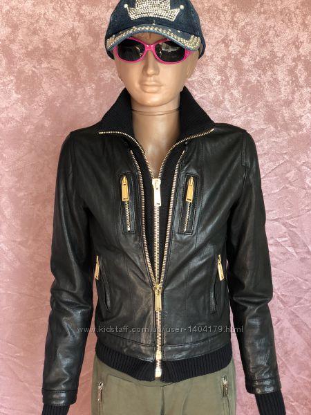 New Байкерская кожаная куртка косуха бомбер DSQUARED2 оригинал 12 размер