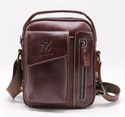 Мужская кожаная сумка через плечо барсетка BullCaptain темно коричневая