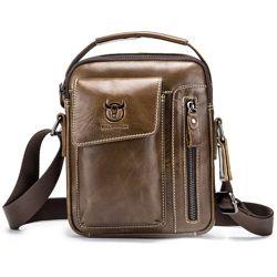 Мужская кожаная сумка через плечо барсетка BullCaptain коричневая