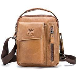 Мужская кожаная сумка через плечо барсетка BullCaptain светло коричневая