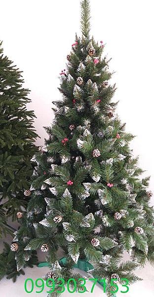 Искусственная зеленая елка Премиум с шишкой и калинкой Red ПВХ