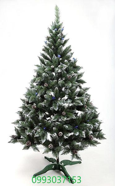 Искусственная зеленая елка Премиум с шишкой и калинкой Blue ПВХ