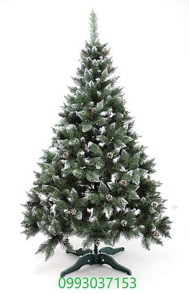 Искусственная зеленая елка Премиум с шишкой и калинкой Silver ПВХ
