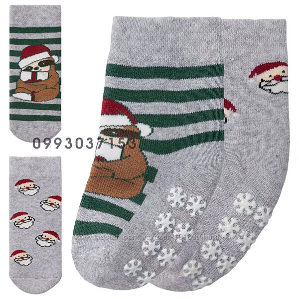 Детские носки новогодние махровые комплект 2 пары Lupilu19-22, 23-26, 27-30