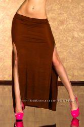 Коричневая длинная юбка макси с разрезами Турция
