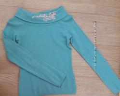 Теплый гольф бирюзовый с ящерицей, S, 36 водолазка, свитер blugirl