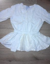 Красивая белая блуза с кружевом на девочку 7-8 лет