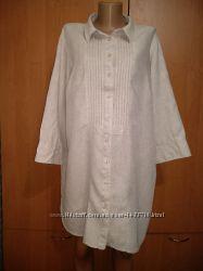 Шикарная льняная удлиненная рубашка туника лён Пог 62 см