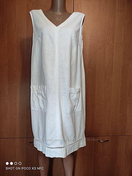 Льняное платье сарафан лён и вискоза Пог-51 см нюанс
