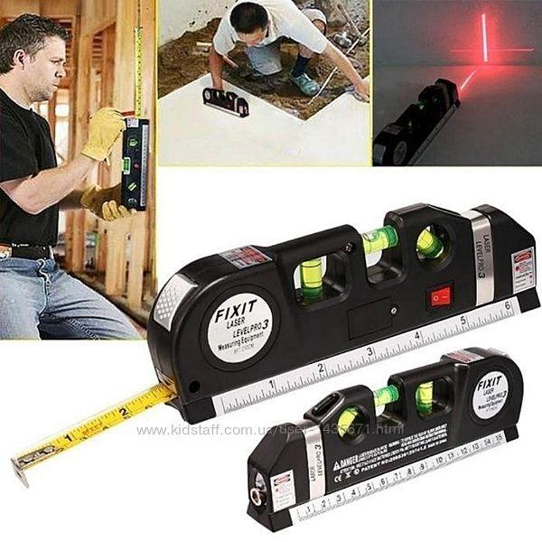 Лазерный уровень нивелир Fixit Laser Level Pro 3 Рулетка, уровень