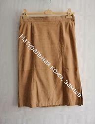Кожаная, длинная юбка gerry weber из натур. кожи, замша, р. 42,44, l, xl,14