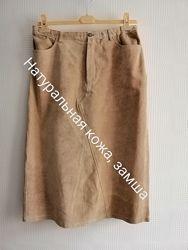 Кожаная, длинная юбка departure из натур кожи, замша, р.46, l, xl, xxl,14,16,18