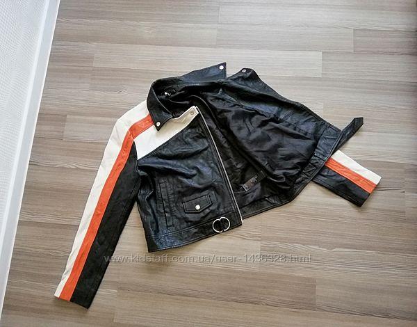 Кожаная, новая куртка косуха top shop, из натур кожи, р. 14,42,10, l, m,12,