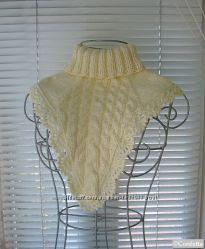 зимняя бежевая женская манишка вместо шарфа