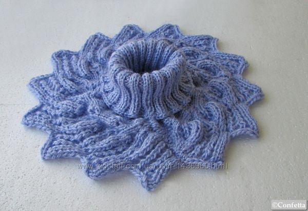 зимняя фиолетово синяя манишка вместо шарфа