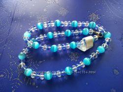 Ожерелье кошачий глаз голубой  хрусталь