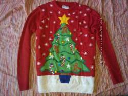 Новогодний свитер с новогодней елкой. Светящийся, мигающий. M
