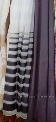 Продам тюль с горизонтальными черными полосками по низу ткани. Арт. 1