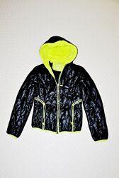 Куртка XS S M стеганая женская черная и неоново салатовая демисезон утеплен