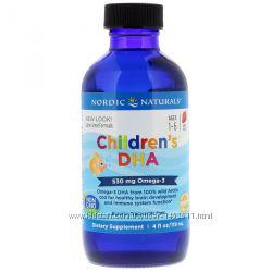 Омега - 3 для детей DHA ДГК, клубничный вкус, 119 мл, Nordic Naturals