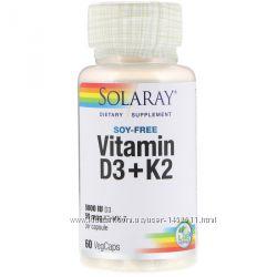 Витамин D3 плюс K2, без сои, 60 шт, Solaray