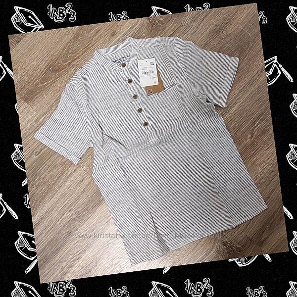 Стильная льняная рубашка C&А с коротким рукавом на мальчика 9 лет на 140см