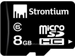 Карта памяти MicroSDHC 8GB Class 6  адаптер