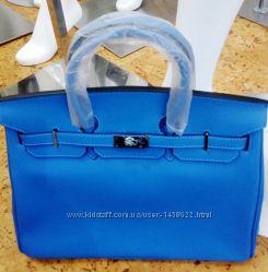 Кожаная сумка под бренд Hermes Birkin голубая