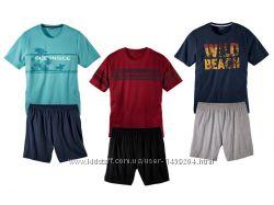 Мужская пижама домашний костюм, футболка шорты, livergy германия