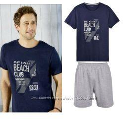 Летний комплект мужская пижама домашний костюм Livergy футболка шорты