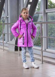 Демисезонная куртка перламутр для девочки от 116-146см, разные цвета