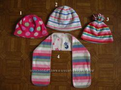 Яркие флисовые шапочки George, GAP, Next 3-8 лет и шарф, дешево