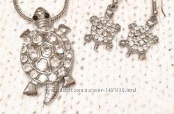 Серебряный набор цепочка, подвес и серьги Черепашка