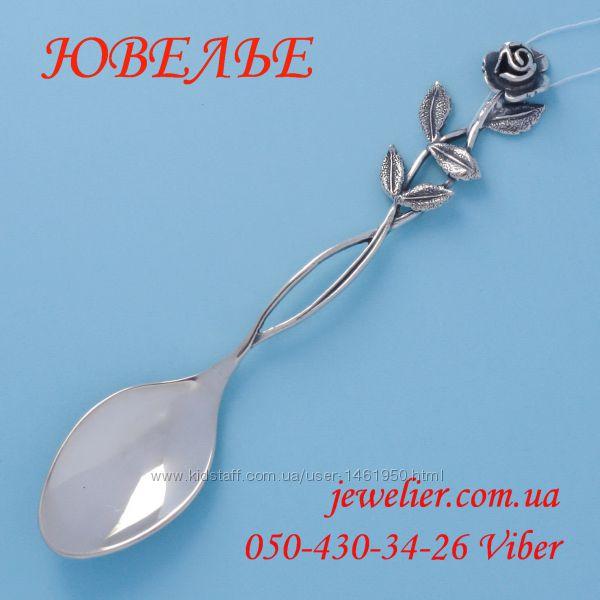 Ложка серебряная кофейная Розочка Д105