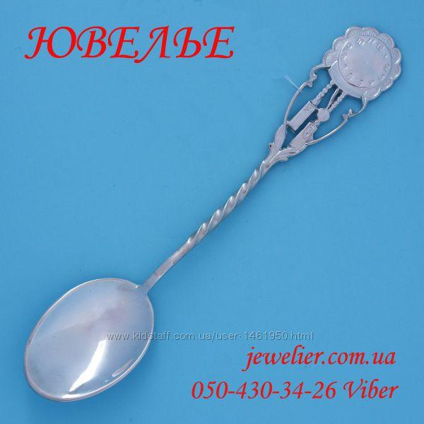 Ложка серебряная чайная Часы белая 875 пробы