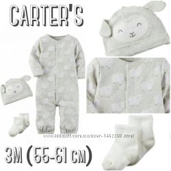 Наборчик человечек с шапойкой и носочками Carter&acutes  3М 55-61 см